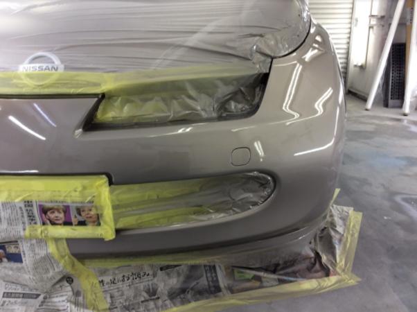塗装後のフロントバンパー